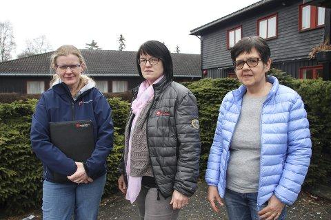 – MAKTER BARE ET MINIMUM: Marianne Gjesdal, tillitsvalgt på Marka, Else Randi Kolby, leder i Fagforbundet Gran og Anne Berit Eriksrud, tillitsvalgt på Skjervum.