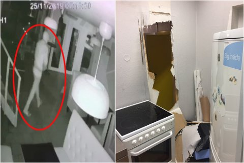 STORE SKADER: For å stjele cirka 3.500 kroner slo innbruddstyven inn veggen mellom nabolokalet og restauranten. Her er tyven også fanget på kamera inne i lokalet.