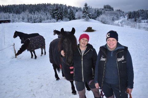 TERAPI: – Det finnes ikke noe bedre terapi enn å jobbe med hester, sier Mona Syvertsen (til venstre) fra Brandbu og Hanne Ellefsrud fra Gran.