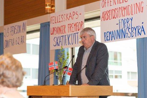 Bjørn Andreassen i LO på Jevnaker. Her fra fjorårets markering.