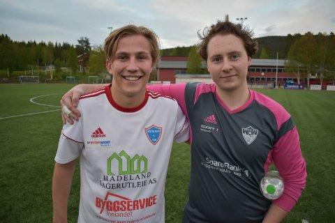 POENGDELING: Anders Tøftum Olerud (til venstre) overlistet Harestua-keeper Truls Hansen to ganger i lokaloppgjøret som endte 2-2.