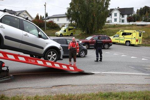 ULYKKE: Ingen personer ble skadet i en trafikkulykke på Jevnaker onsdag ettermiddag.