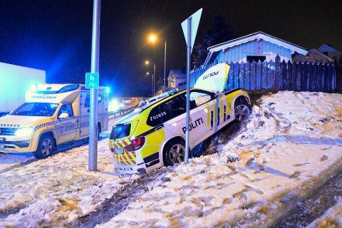 Utrykningsbilen skled av veien ved riksvei 35 under utrykningen til togulykken ved Vikersund jernbanestasjon 28. januar i år..