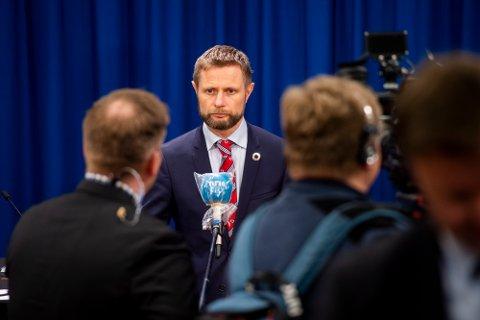 Oslo 20200326.  Helse- og omsorgsminister Bent Høie under den daglige pressekonferansen om håndteringen av koronasituasjonen. Foto: Fredrik Varfjell / NTB scanpix