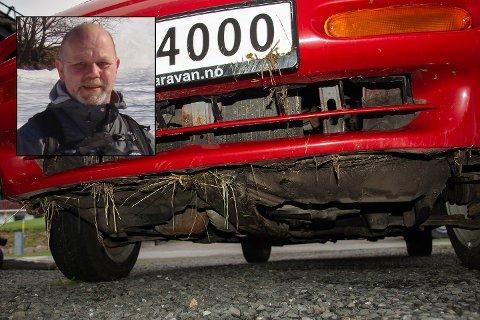 UHELL: Knut Sørensen (innfelt) fortviler over at en bilfører stakk av tirsdag.