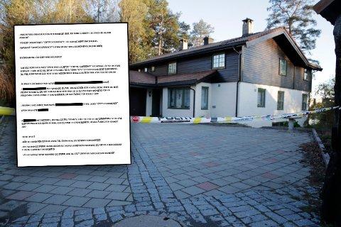 SKURRER: Politiet mener det er mye som skurrer i trusselbrevet som ble funnet i Sloraveien 4 31. oktober 2018, dagen Anne-Elisabeth Hagen forsvant. Det var hennes nå drapssiktede ektemann, Tom Hagen, som fant trusselbrevet og overrakte det til politiet.