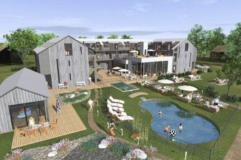 Kosterbaden: Slik ser utbyggerne for seg hotellet på Nord-Koster til en pris av 60 millioner kroner.  TEGNING: Kosterbaden