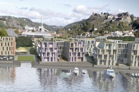 ET SKUDD FOR BAUGEN: De planlaget 200-230 boligene i Fredrikshald brygge er satt åtte år på vent av Jernbaneverket.Illustrasjon: Ola Roald AS