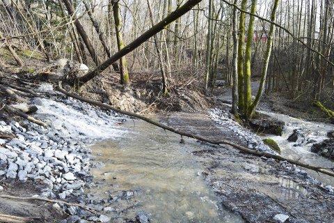 Ras: Et ras sperrer stien gjennom Schultzedalen og vannmassene ødelegger den populære stien. Foto; Thomas Lilleby