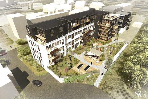 VISJONÆRT: Eiendomsutvikler Ole Kristian Sørlie ønsker å endre bygningen i Os allé 9 til dette. Illustrasjonen er utarbeidet av SG Arkitekter.