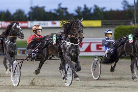 TRAVET TIL SEIER: Mjølner Spik vant sitt kvalløp til Derby på Bjerke. Jan Roar Mjølnerød bak tømmene. foto:  Eirik Stenhaug