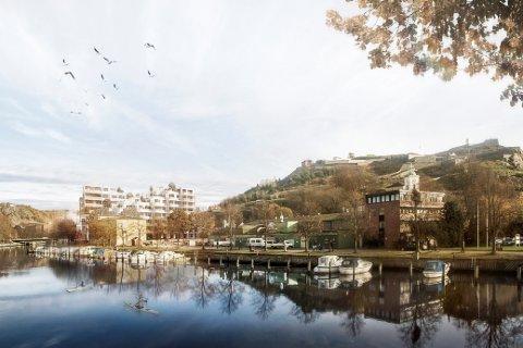 I BYBILDET: Slik ser AART architects for seg Grønland Brygge fra bybrua. – Ved å bygge terrasserte leiligheter, får vi mer luft og to mye mindre massive bygg, forklarer Trond Østby som står bak planene.