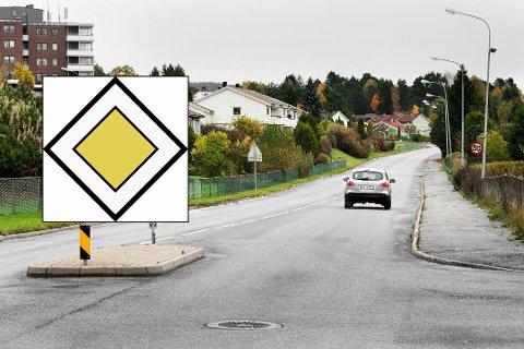 NYE SKILT: Det gule og hvite skiltet som indikerer forskjørsvei, blir satt opp langs flere veier i Halden i nær framtid. BRA-veien fra Remmen til krysset med Stadionveien i Tistedal er en av 12 fylkesveier som skal få forkjørsrett.