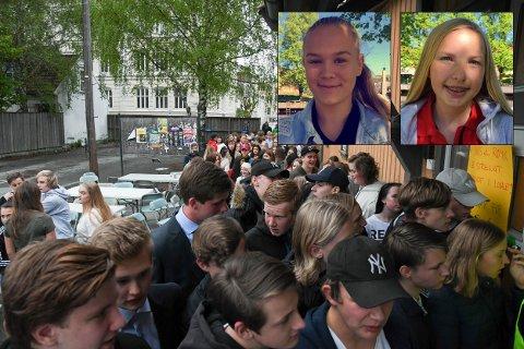 LANG KØ: Det var mange som ville inn da brødrene Strøm inviterte til diskotek i Black Box på 17. mai. Julie Malmquist (innfelt øverst til venstre) og Elise Torgersen (til høyre) er to av mange som ønsker at dette skal skje oftere.