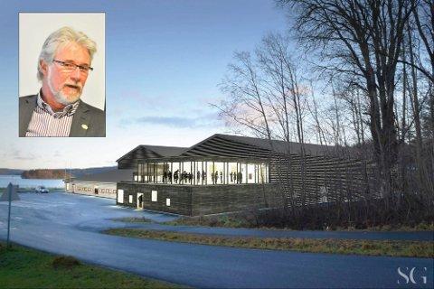 Tegninger av nye Tistedalshallen. Tron Grandal innfelt.