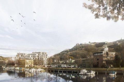 Skissene fra Østby Eiendom viser hvordan Grønland brygge vil se ut langs Tista.