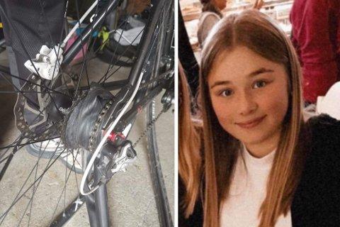 SKADET: Slik var sykkelen til Martine etter noen hadde tuklet med bremsene hennes.