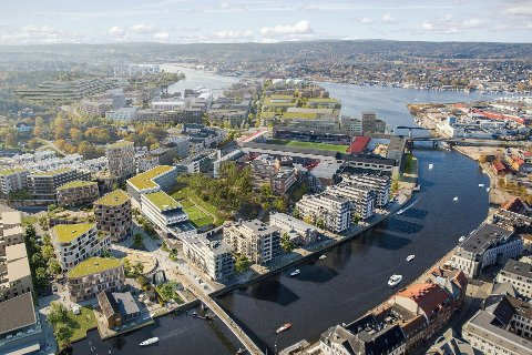 SATSER PÅ SENTRUMSBOLIGER: I Fredrikstad har de blant annet satset på bygging av sentrumsboliger. Dette forslaget viser hvordan utbyggere ser for seg framtidens Værstetorvet på sørsiden av Glomma midt i Fredrikstad sentrum.