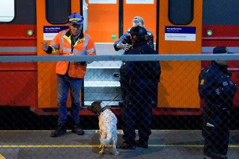 GRANATFUNN: Ingen personer ble skadet, og granaten viste seg å være ufarlig. Her ser du fra Nordstrand stasjon, hvor håndgranaten ble fjernet fra toget. Foto: Fredrik Hagen