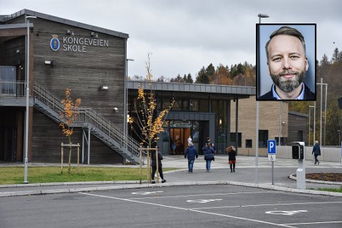OPPHEVER KARANTENEN: Fredag ga kommuneoverlegen Kongeveien skole og rektor Arne Sandnes Larsen (innfelt) en god nyhet: Testresultatet fra eleven som man mistenkte kunne være smittet av korona, var negativ.