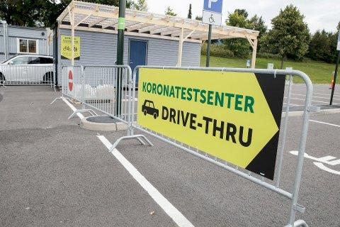 TESTSENTER: I Sarpsborg har de dette drive-thru-koronatestsenteret. Det siste døgnet har det blitt påvist fire nye koronatilfeller