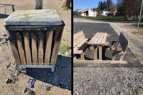 HÆRVERK: Hjortsberg skole har en rekke ganger de siste årene blitt utsatt for hærverk. Nå har det skjedd igjen. Tirsdag kveld ble det både satt fyr på en søppelkasse og en benk ble delvis ødelagt.