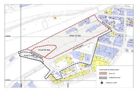 STORT OMRÅDE: Denne skissen viser foreslått planområde for byutviklingsprosjektet. Til sammen ønsker Bane NOR Eiendom og Halden kommune å se på 50 mål.