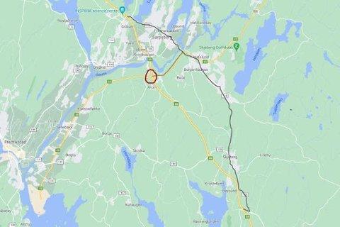 Omkjøringsvei under nattestenging (Illustrasjon: Statens vegvesen)
