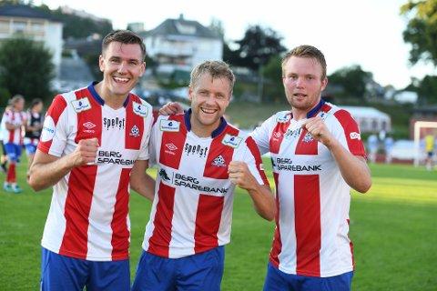 KVIK-HELTER: Deni Hasanagic (tv), Filip Westgaard og Fabian Ness scoret hvert sitt mål da Kongsvinger  ble påført sitt første tap for sesongen.