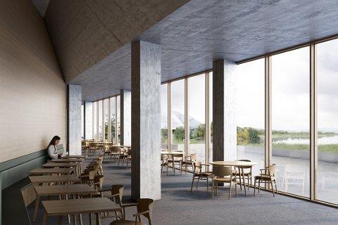 RESTAURENT: Studentene har laget en restaurant med panoramautsikt mot Vikingskipet og Åkersvika. (Illustrasjon: Jon Grasdal og Anton Xerxes Boman)