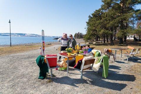 UTSTILLING: – Velkommen til Hamars mest idylliske utstilling, sier Veronica Sigurdsen og Kine Lien.