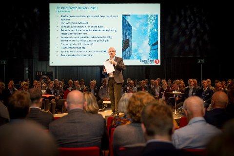 KONFERANSE: Konsernsjef Richard Heiberg snakket til rundt 200 næringslivspersonligheter på Lederkonferansen 2019 inne på Hamar kulturhus.