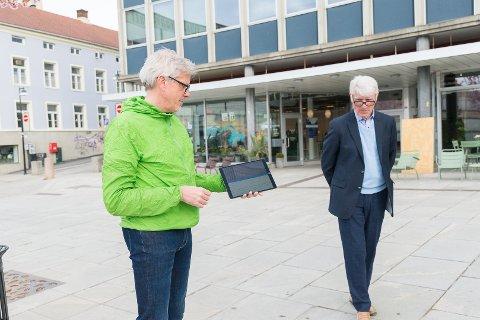 PÅ ØRET: Nå kan du høre pensjonert statsarkivar Per-Øivind Sandberg fortelle spennende historier om Hamar mens du vandrer rundt i byen. Lage Thune Myrberget og Storyphone AS har laget innholdet.