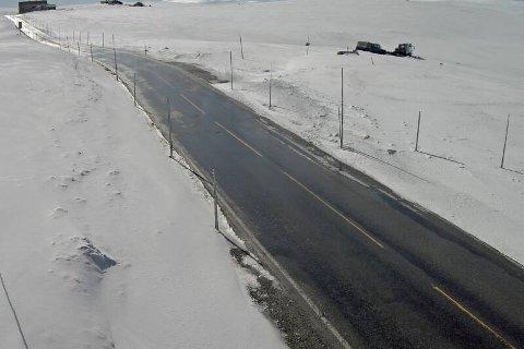 Slik så det ut ved Dyranut på rv 7 fredag morgen. Da var det meste av snødekket borte.