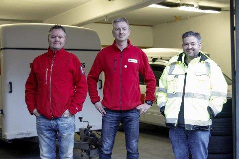Jubileum: Sverre Molven, Svein Buer og Per Magne Eikeland i Røde Kors håper mange melder seg på når Odda Røde Kors skal feire 75 år i februar.