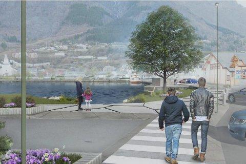 Strandpromenade: Slik ser skissene av strandpromenade i Odda sentrum ut. Skisse over området utanfor Sørfjordsenteret mot torget. Illustrasjonsfoto: Nordplan