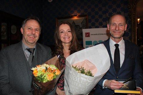 Riksmålsforbundet hedret (f.v.) Anders Borgen Werring med Lytterprisen, Tonje Steinsland med TV-prisen og Knut Olav Åmås med Gullpennen.