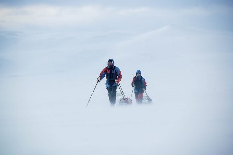 I amundsens skispor:  Ikke staket løype eller oppkjørte spor på ekspedisjon …Foto: Kai-Otto/Xtremeidfjord