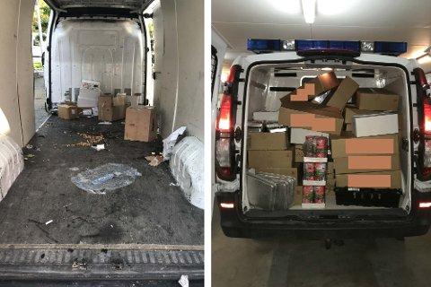Bilen som politiet kom over måndag var skiten, og bar preg av å ha transportert frysevarer i romtemperatur. Politiet beslagla partiet med kjøle- og frysevarer. HF har vald å anonymisere firmanavn.