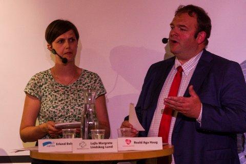 Lajla-Margrethe Lindskog-Lund (Sp) og Roald Aga Haug (Ap) under ein debatt før valet i 2019.