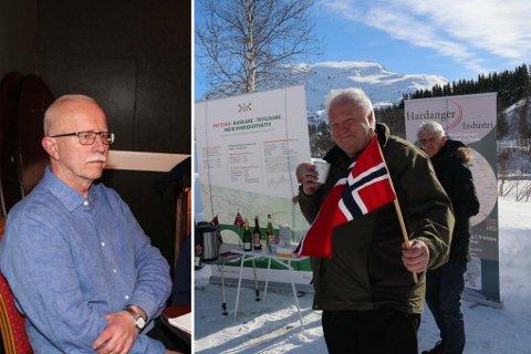 Prosjektleiar i Statens vegvesen, Åge Jonn Hillestad. (t.v.) seier ny Røldalstunnel vil gje stor innsparing i lengde og høgdemeter. Arnfinn Førsund i Hordalandsdiagonalen AS var ein av dei som nyleg feira under eit lite arrangement på Seljestad.