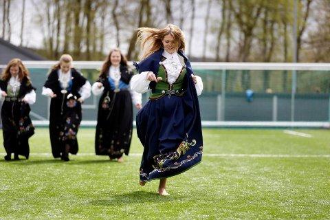 Vinneren: Amalie Helgesen tok seieren blant jentene i potetløpet.Foto: Grethe Nygaard