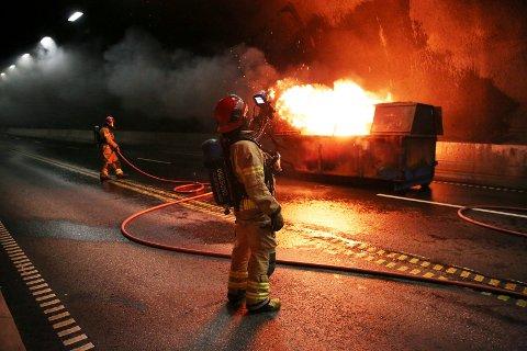 Karmøytunnellen 311016 Tunellen stengt pga brannøvelse.