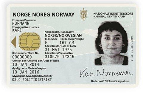 Slik kommer de nye nasjonale ID-kortene til å se ut. Neue Design står bak designet. Foto: Politiet / NTB scanpix