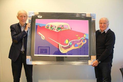 STOLTE: Inge Gilje (t.v.) og Sveinung By er kry over Pushwagner-bildet de har skaffe til årets Karmøyutstilling.