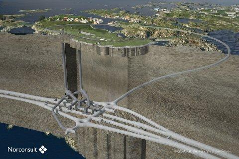 Skissen viser hva som skal bygges i den såkalte Kvitsøy-pakken i Rogfast. Prislappen ligger an til å bli 1 milliard dyrere enn forventet og kan i verste fall velte hele utbyggingen.