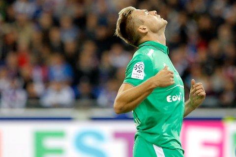Alexander Toft Søderlund spilte en god kamp for Saint-Étienne søndag kveld. Foto: AP Photo/Laurent Cipriani