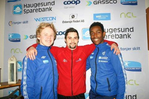 MEDALJEKANDIDATER: Skage Lysgaard (t.v.), Per Gunnar Westerlund og Jo Baitewar Frøyland Skagset er sterke kort på Haugesunds lag i troppsgymnastikk.
