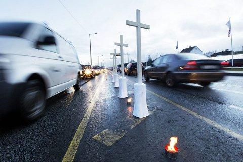 LAVEST PÅ 30 ÅR: Fem ble drept i trafikken i Rogaland i 2019. Det er det laveste antallet på 30 år. I nordfylket mistet to livet i trafikken. Bildet er fra Trafikkofrenes dag i 2012.