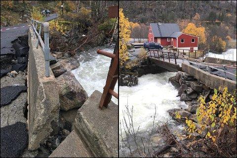 ØDELAGT: Broen har fått store skader. På et tidspunkt søndag kveld flommet elven over hele broen.